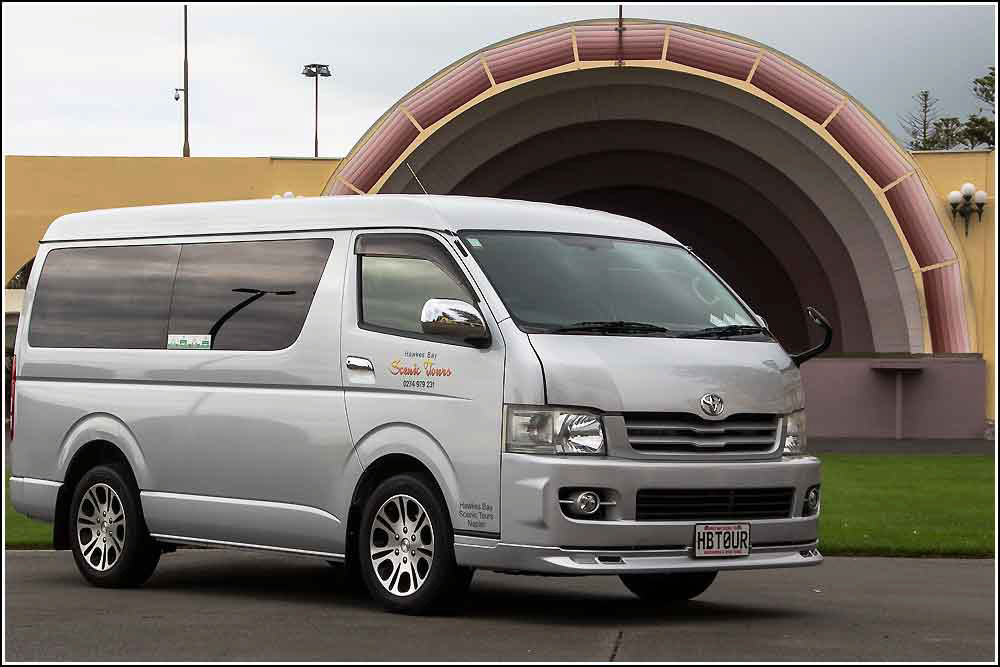 Modern air conditioned vans available for your group transport for your private Hawkes Bay Hire with Hawkes Bay Scenic Tours