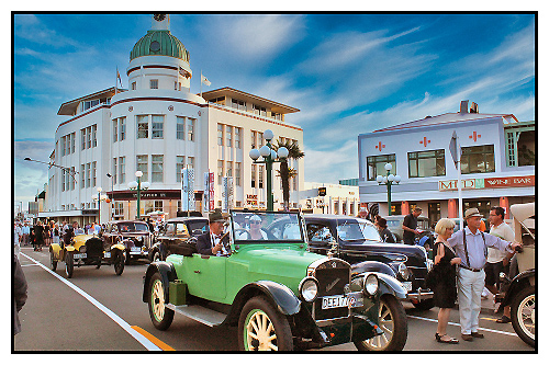 Period cars on Marine Parade with Hawkes Bay Scenic Tours