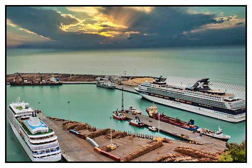 Napier Port with 2 cruise ship attending